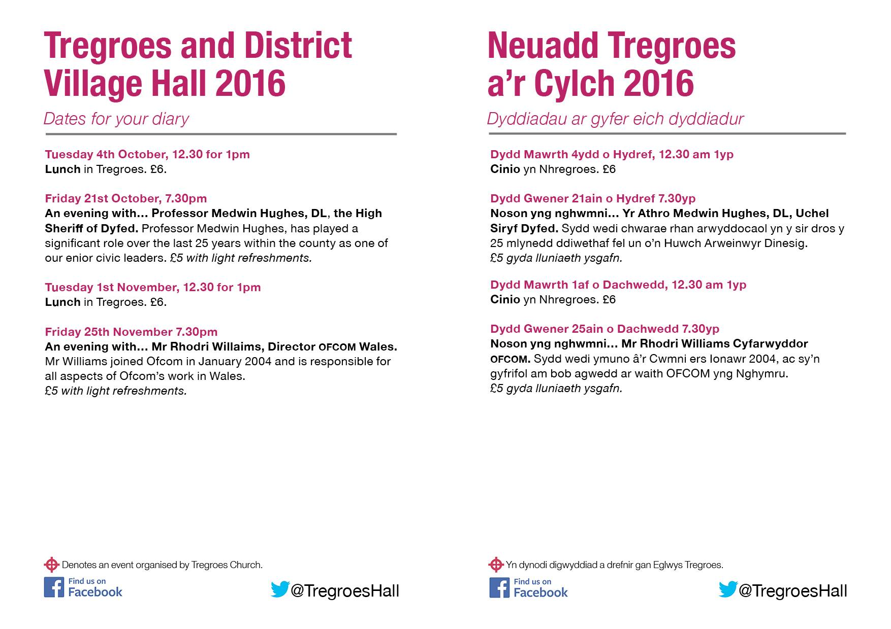 Poster advertising events in Tregroes Hall